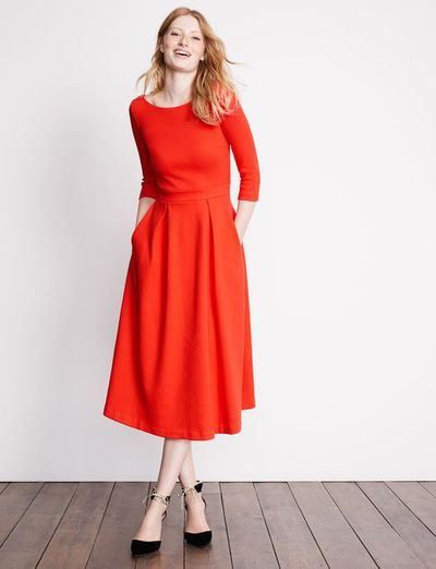 """<a href=""""http://www.bodenclothing.com.au/en-au/womens-dresses/day-dresses/j0075-brd/womens-red-pop-holly-textured-dress"""" target=""""_blank"""">Boden Holly Textured Dress, $180.</a>"""
