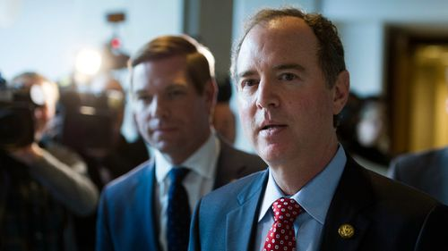House Intelligence Committee Ranking Member Adam Schiff, D-Calif., walks from a committee meeting where former White House strategist Steve Bannon is testifying. (AAP)