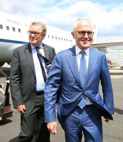 Georgina's father Alexander Downer, pictured here with Malcolm Turnbull,  held the same seat from 1984 to 2008.