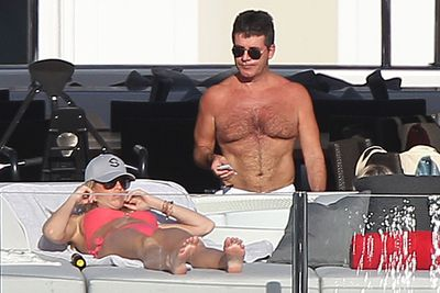 Simon Cowell hung out on board a yacht in St Barts.