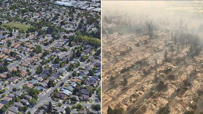 Before and after photos of Coffey Park, Santa Rosa. (Google Earth/California Highway Patrol/Reuters)