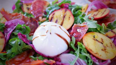 Grilled nectarines with crispy prosciutto and burrata