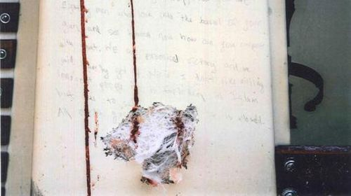 Blood-stained and bullet riddled note shown to jurors during Boston Bombing case