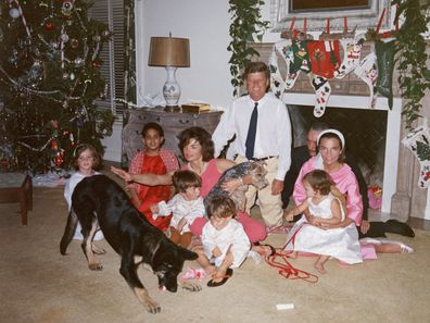 Jackie Kennedy, Lee Radziwill and their families have Christmas at the White House, 1962.