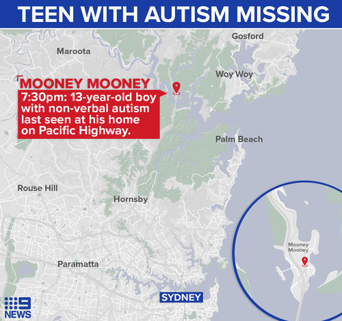 A 13-year-old boy has gone missing from his home in Mooney Mooney.
