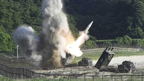 A U.S. MGM-140 Army Tactical Missile is fired during a drill in South Korea. (AAP)
