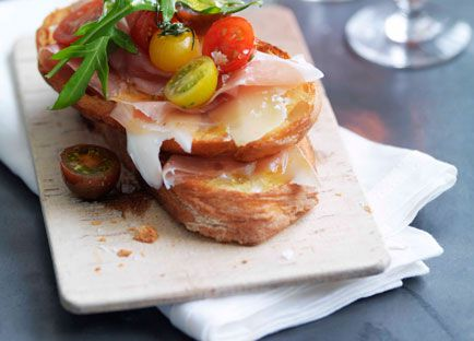 Prosciutto, fontina, rocket and cherry tomato bruschetta