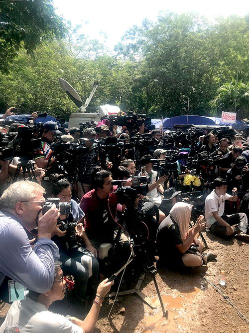 Some of the world's media as the Thai cave rescue drama unfolded. (Supplied)