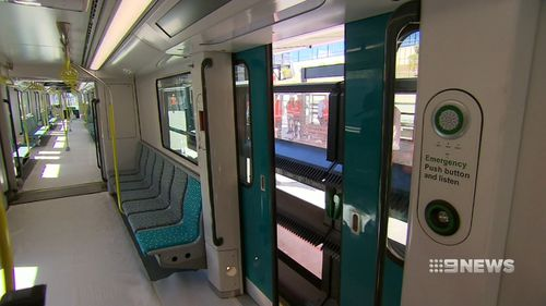 Inside one of the Sydney Metro trains.
