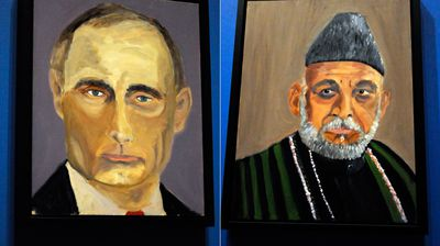 Russian President Vladimir Putin and Afghanistan President Hamid Karzai. (AAP)