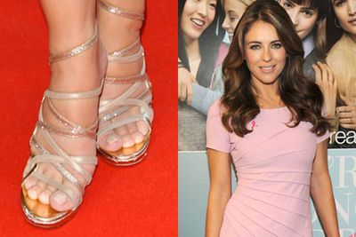 Eww! One sure fire way to make your feet look more like sausages than tootsies, is to squeeze them into tight fighting shoes. Not to mention the ouch-factor!<br/><br/>(Pictured: Elizabeth Hurley)