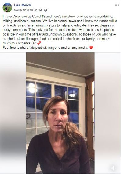 Lisa Merck posted a video to Facebook describing her symptoms.