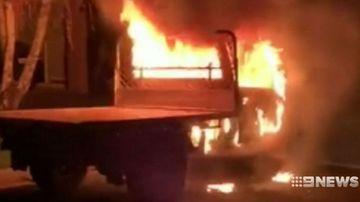 Man abandons burning ute after Adelaide Hills traffic stop.