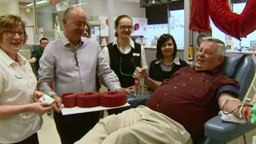 Victorian man honoured after becoming state's biggest blood donor