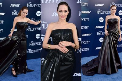 """<br/><br/>Angelina Jolie just rocked up to the <i>Maleficent</i> world premiere in LA wearing what looks like a garbage bag fit for a 16th century dominatrix.<br/><br/>Flick through the red carpet snaps to witness the gown in all its 'trash bag' glory, then keep flicking through to see who else was there...<br/><br/>(<i>Author: <b><a target=""""_blank"""" href=""""https://twitter.com/yazberries"""">Yasmin Vought</a></b></i>. Approved by Amy Nelmes)<br/><br/>Images: Getty"""