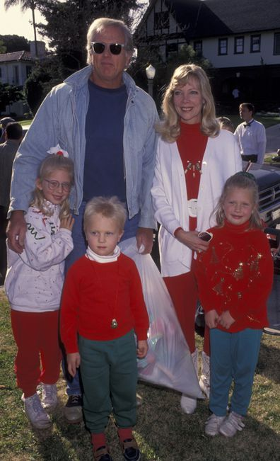 Actor Ron Ely and family attend Second Annual Toys for Tots Benefit on December 19, 1992 at Hancock Park in Los Angeles, California.