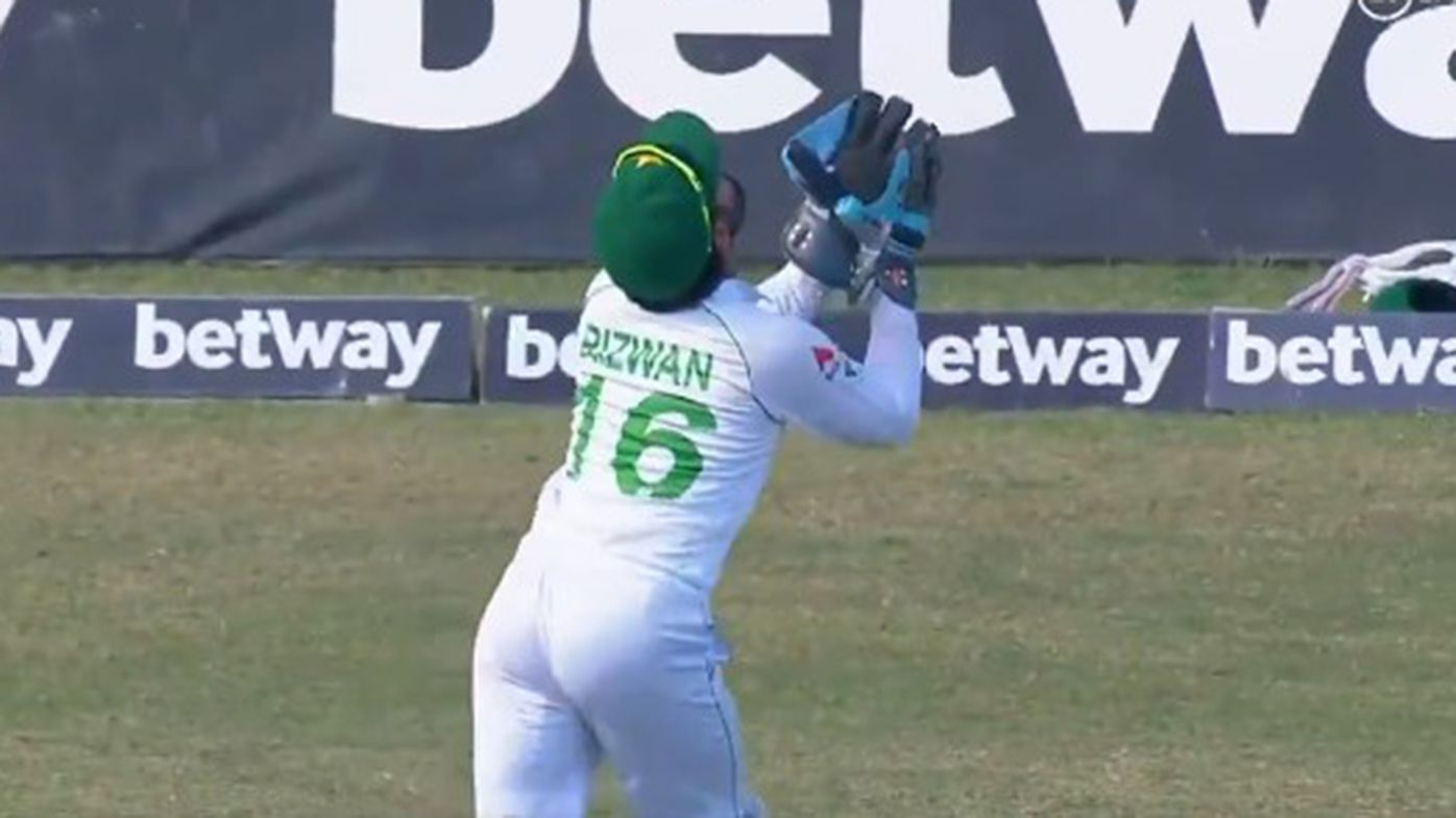Mohammad Rizwan took this miracle catch as the first Test between Pakistan and West Indies reached a dramatic conclusion.