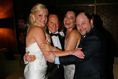 Geoffrey proposed to Brynne three months later, after she'd moved into his swish Melbourne penthouse apartment in the ritzy Paramount building. Geoff sent a pre-wedding DVD to guests directed by <I>Pretty Woman</i>'s Garry Marshall and featuring narration by Seinfeld's Jason Alexander.<br/><br/>Image: Getty (Pictured: Jason Alexander and <i>The Nanny</i>'s Fran Drescher at the Edelstens' wedding).