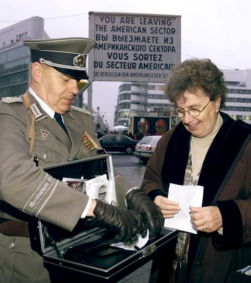at former Checkpoint Charlie in Berlin Nov. 9, 1999, the 10th anniversary of the fall of the Berlin Wall.