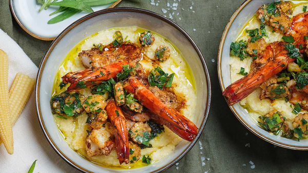 Analiese Gregory's black tiger prawns with polenta and smoked paprika