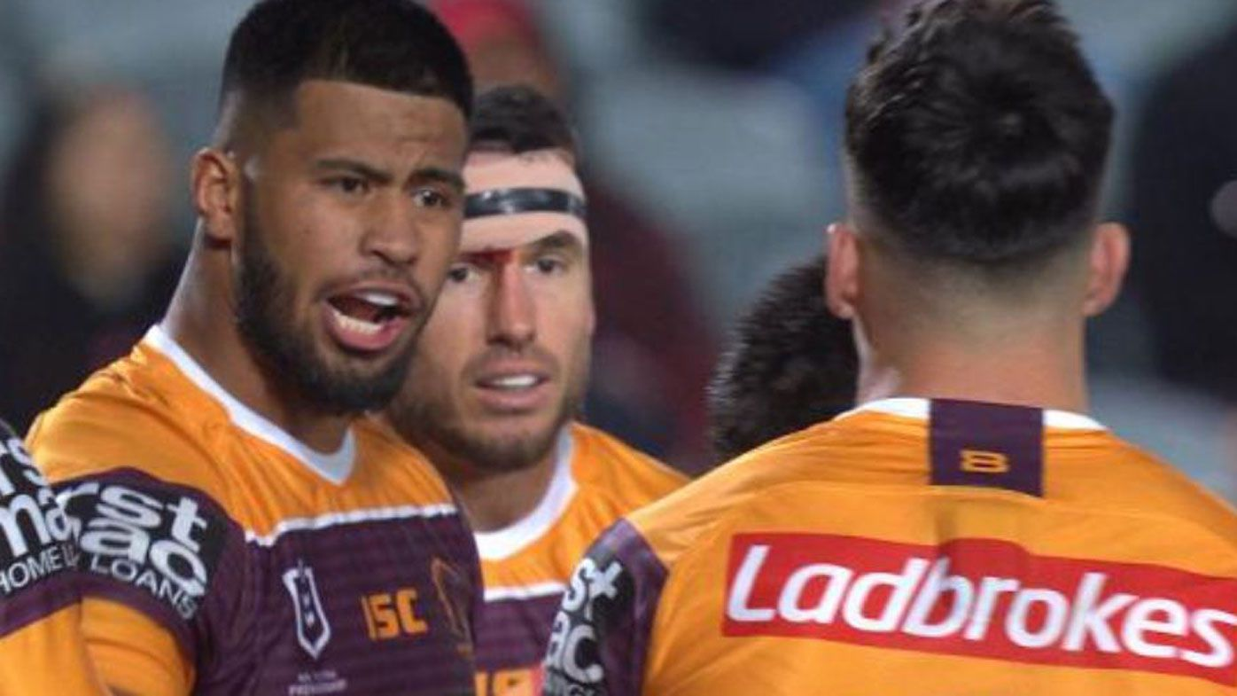 Broncos star Payne Haas spotted spraying Brisbane captain Alex Glenn in poor loss