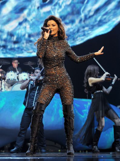 Singer Shania Twain performs during the debut of her residency show Shania: Still the One at The Colosseum at Caesars Palace on December 1, 2012.