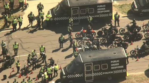 Victoria Police are filtering the bikies through their checkpoint in Sunshine West.