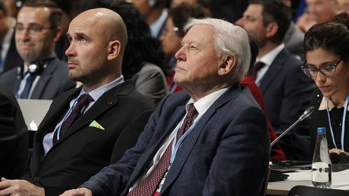 British naturalist David Attenborough (C) and Polish government climate envoy Marcin Korolec (L) attend the opening ceremony of the COP24 summit in Katowice, Poland, 03 December 2018.