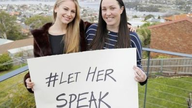Grace Tame, pictured with journalist and founder of the #LetHerSpeak campaign Nina Funnell.