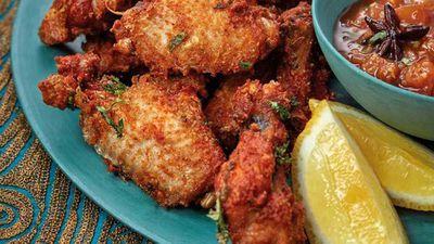 "Recipe:&nbsp;<a href=""http://kitchen.nine.com.au/2017/09/13/21/12/phuljhari-murgh-firecracker-fried-chicken-wings"" target=""_top"">Phuljhari murgh firecracker fried chicken wings</a>"