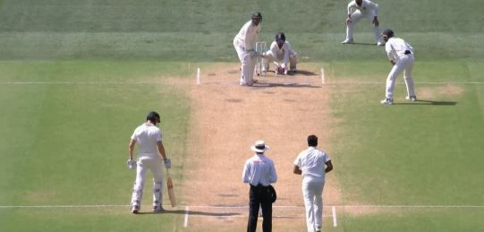 Usman Khawaja is dismissed by Ravi Ashwin in the first Test in Adelaide.