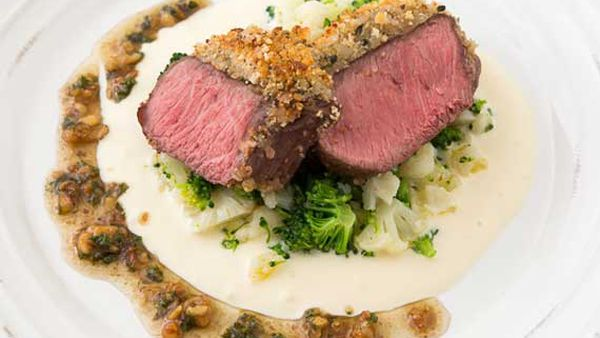 George Calombaris' crumbed lamb rump with walnut dressing
