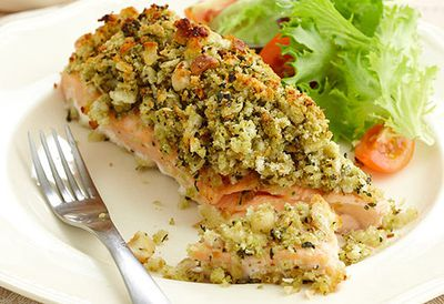 Pesto and macadamia crusted salmon