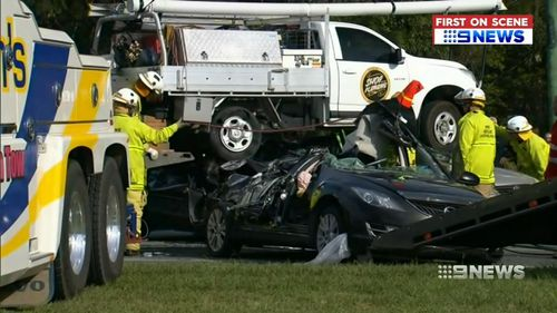 The ute crushed cars below. Picture: 9NEWS