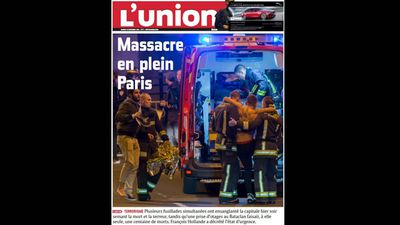 "<p>Newspapers from France and around the world have reacted to the deadly Paris terror attacks with front page reports.</p><p>French newspaper <em>L'Union</em> ran 'Massacre in Paris'.</p><p>For the latest information on the attacks, follows our live updates <a href=""http://www.9news.com.au/World/2015/11/14/08/19/Several-people-reportedly-killed-after-gunman-opens-fire-in-Paris-restaurant"">here</a>.</p><p><strong>Click through the gallery to see how the world has reacted. </strong></p><p>(All images: Twitter)</p>"