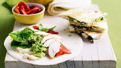 """<a href=""""http://kitchen.nine.com.au/2016/05/19/13/04/quesadillas"""" target=""""_top"""">Quesadillas</a><br> <br> <a href=""""http://kitchen.nine.com.au/2017/02/09/10/56/tortillas-quesadillas-burritos-and-fajitas-for-lunch"""" target=""""_top"""">More Mexican wrap recipes</a>"""