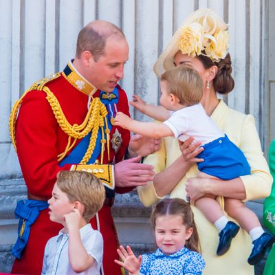 Prince Louis goes to dad