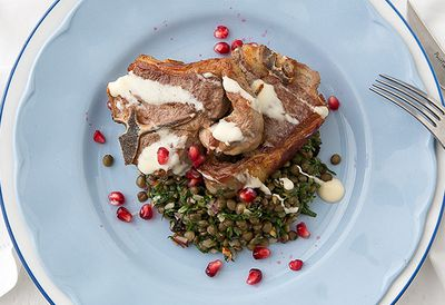 Lamb loin chops with Cypriot salad