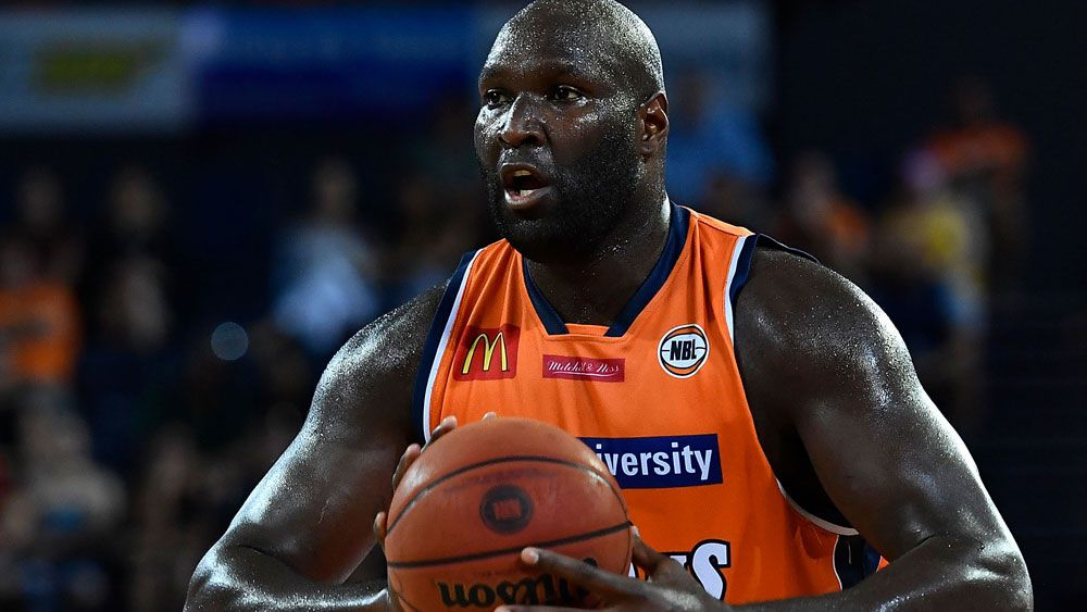 Cairns Taipans' Nathan Jawai in action during the NBL win over Perth. (Getty)