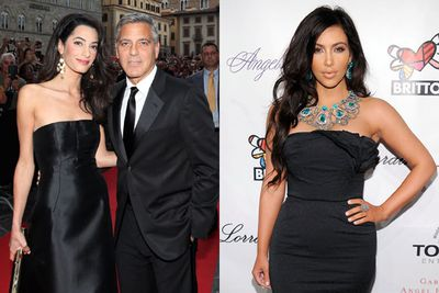 <br/><br/>Can someone please tell Amal that Kim rocked strapless black gowns back in 2010? Well, the blinged-out version anyway