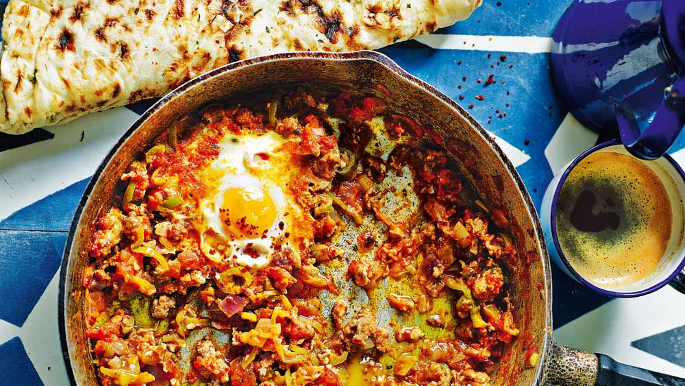 Mince menemen (Turkish-style eggs with tomato and mince) by John Gregory-Smith