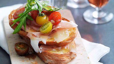 """Recipe:&nbsp;<a href=""""http://kitchen.nine.com.au/2016/05/16/15/14/prosciutto-fontina-rocket-and-cherry-tomato-bruschetta"""" target=""""_top"""">Prosciutto, fontina, rocket and cherry tomato bruschetta</a>"""