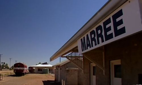 The tiny township of Marree in northern SA is 60 kilometres from the giant desert figure.