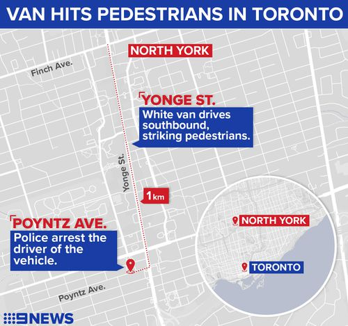 The rental van drove about one kilometre down Yonge Street in North York. (9NEWS)