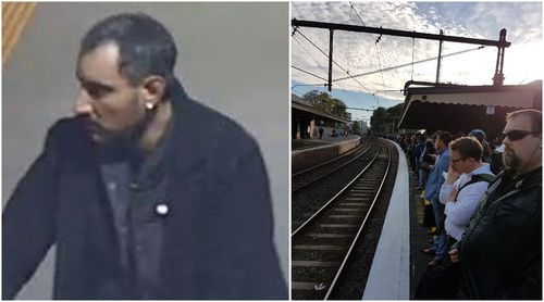 Police are searching for the man pictured (left), believed to be responsible for dumping a suspicious device which sparked commuter chaos. (Victoria Police/ Supplied via Phil Ridout)