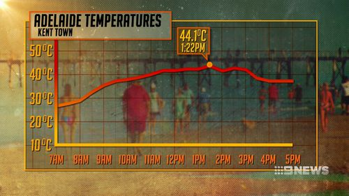 Kent Town reached 44.1C just after 1.20pm today. (9NEWS)