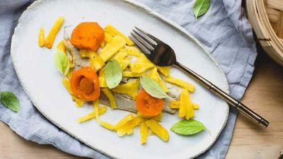 """Recipe:&nbsp;<a href=""""http://kitchen.nine.com.au/2017/08/09/16/19/steamed-fish-with-pineapple"""" target=""""_top"""">Steamed fish with pineapple</a>"""