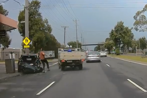The driver then speeds away, leaving behind the car and driver it just slammed into. (Facebook)