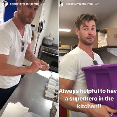 Chris Hemsworth on canteen duty