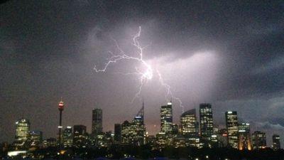 9News.com.au reader Jan Knapp took this photo of a lightning strike above Sydney's CBD. (Jan Knapp)